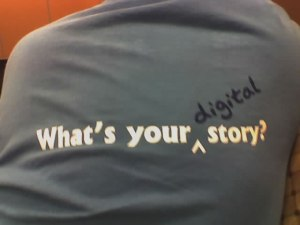 photo of what's your digital story t-shirt
