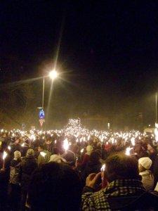 The Hogmanay Torch Procession in Edinburgh, Scotland.