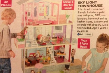 Anyone can enjoy playing house. Excerpt from the 2013 Toys R Us UK Holiday Catalogue